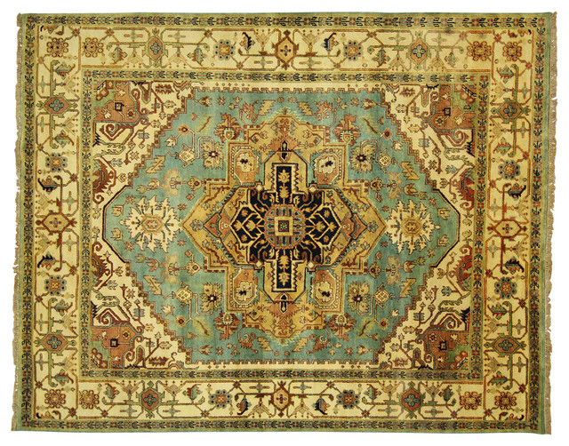 New Traditional Blue & Ivory Heriz Serapi 8x10 Hand Knotted Wool Area Rug H3493 traditional-rugs