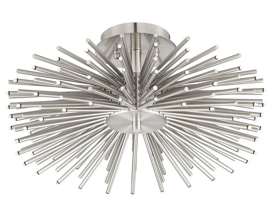 """Possini Euro Design - Contemporary Brushed Nickel 75-LED Semi-Flush Ceiling Light - Bring a dazzling new look to an entry way kitchen or dining room with this fabulous brushed nickel semi-flushmount ceiling light. Featuring a single LED on the tip of each of its 75 sleek metal rods this light will command attention in your home. Contemporary style and modern energy-efficient technology combine to create this great design. Energy efficient. Brushed nickel finish. Includes seventy five 1 watt LEDs. 6000K color temperature. Light output is 383 lumens comparable to a 35 watt incandescent bulb. 18"""" wide. 8 1/2"""" high.  Energy efficient.  Brushed nickel finish.  Includes seventy five 1 watt LEDs.  Not dimmable.  Light output is 383 lumens.  Comparable to a 35 watt incandescent bulb.  Color Temperature is 6000K.  18"""" wide.  8 1/2"""" high."""
