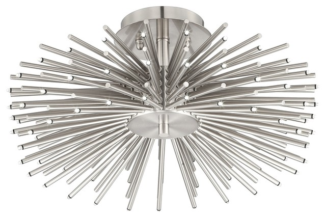 Contemporary brushed nickel 75 led semi flush ceiling for Possini lighting website