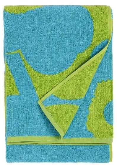 Marimekko Unikko Turquoise and Lime Bath Towel modern-towels