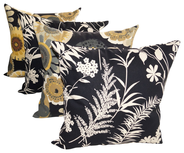 Ardiana Black and Crosby Ebony Black Outdoor Decorative Throw Pillows - Set of 4 traditional-outdoor-cushions-and-pillows