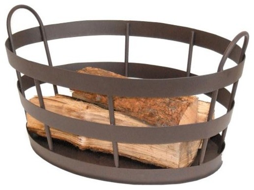Rustic Fireplace Log Basket traditional fireplace accessories