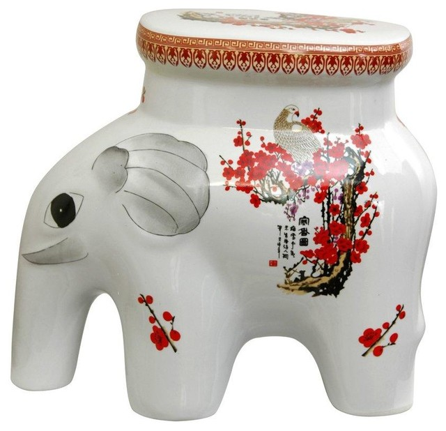 """14"""" Cherry Blossom Porcelain Elephant Stool traditional-outdoor-footstools-and-ottomans"""