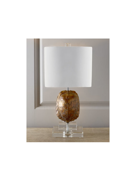Horchow - Gold Tortoise Mini Lamp - An unmistakable conversation piece, this modern mini lamp holds a hand-cast tortoise shell at its center, displayed on a stacked clear optic-crystal base. White cotton shade is lined in gold-foil paper for even greater glow when the lights are on. Hand...