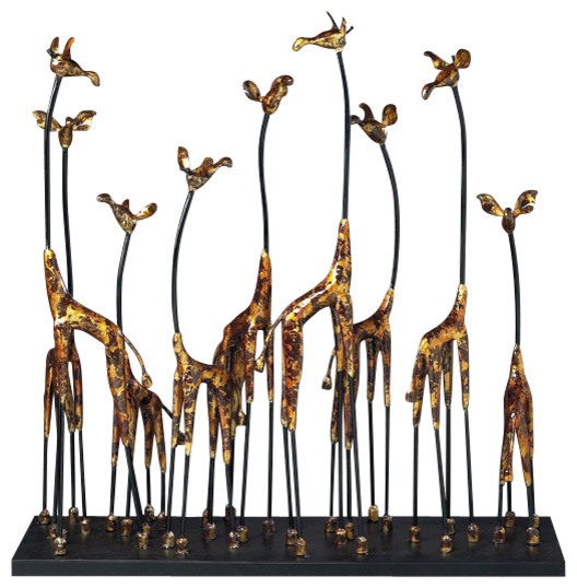 Giraffe family sculpture in bronze contemporary for Modern decorative objects