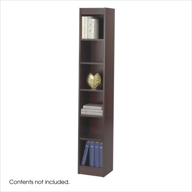 safco 12 inch wide 6 shelf veneer baby bookcase in mahogany