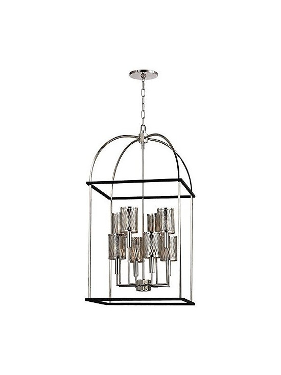 "Hudson Valley Lighting - Hudson Valley Lighting | Vestal Eight Light Pendant - Design by Hudson Valley, 2014.Structured as a vaulted lantern, the Vestal Eight Light Pendant illuminates from eight metal shaded sockets with Machine Age accents, arranged at varying heights. Framed by a black textured iron cage, Vestal's perforated metal shades flex industrial strength from within the pendant's curved arches. Screw on shade attachments. Supplied with a 54"" chain."