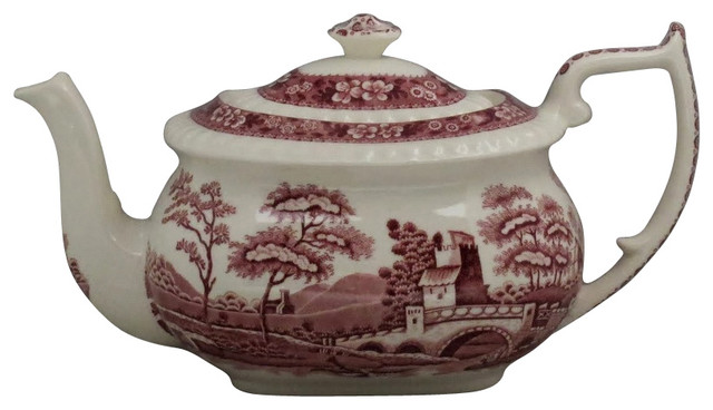 Spode Tower Pink Teapot Amp Lid Traditional Teapots By