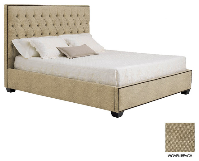 Huntley Tufted Upholstered Bed Woven Beach Cal King