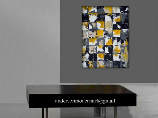 Yellow Black And Gray Wall Decor : Large wall art print of yellow gray and black