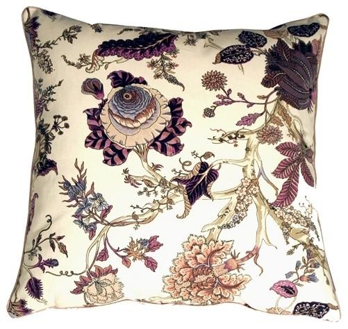 Pillow Decor - Highland Floral Cream and Purple 20 x 20 Throw Pillow contemporary-pillows