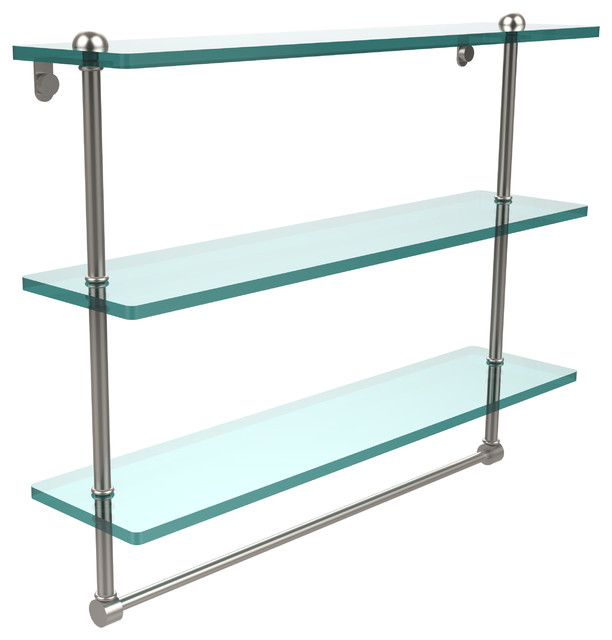 22 Triple Glass Shelf With Towel Bar Satin Nickel Contemporary Bat