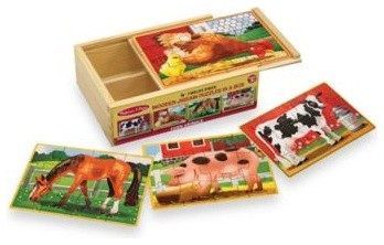 Melissa & Doug Farm Animals Jigsaw Puzzles in A Box (Set of 4 Puzzles) contemporary-kids-toys