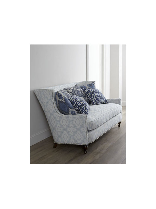 "Key City Furniture - Key City Furniture Kylie Sofa - With a frame completely outlined in polished silver nailhead trim, tile-pattern upholstery in soothing shades of blue, and down-blend seating, this sofa offers both comfort and style for your favorite living space. Four 22""Sq. back pillows and two 18""Sq..."