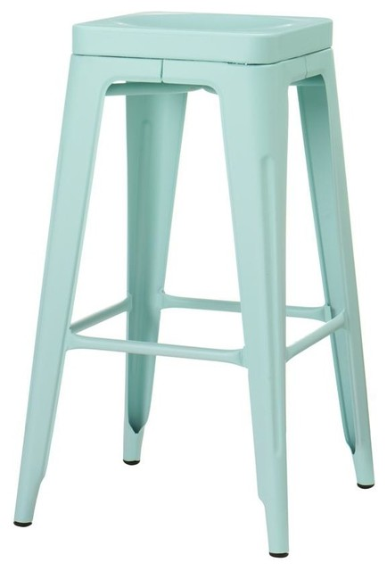 Garden Backless Bar Stool Blue Modern Bar Stools And