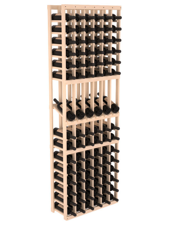 Wine Racks America - 6 Column Display Row Wine Cellar Kit in Pine, (Unstained) - Make your best vintage the focal point of your wine cellar. These decorative wine racks allow presentation of favored and coveted labels. This solid build wine rack is constructed from superior pine and redwood materials. Features our industry exclusive solid display trays with a high reveal.