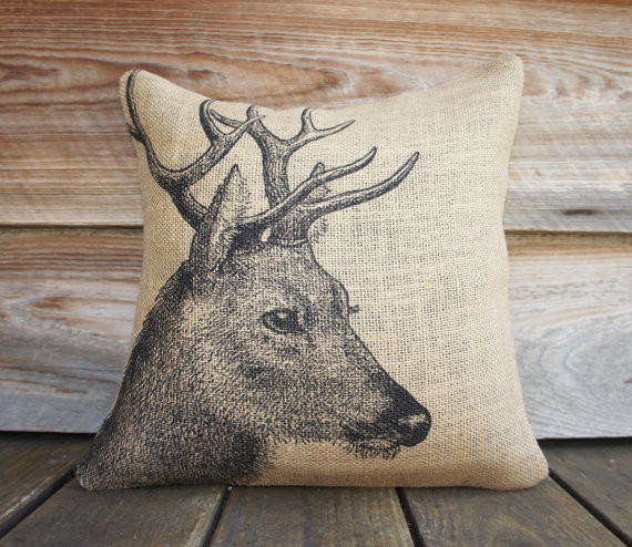 Decorative Pillows With Deer : Deer Burlap Pillow Cover by The Watson Shop - Eclectic - Decorative Pillows - by Etsy