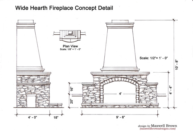 Traditional Outdoor Fireplace - traditional - exterior elevation
