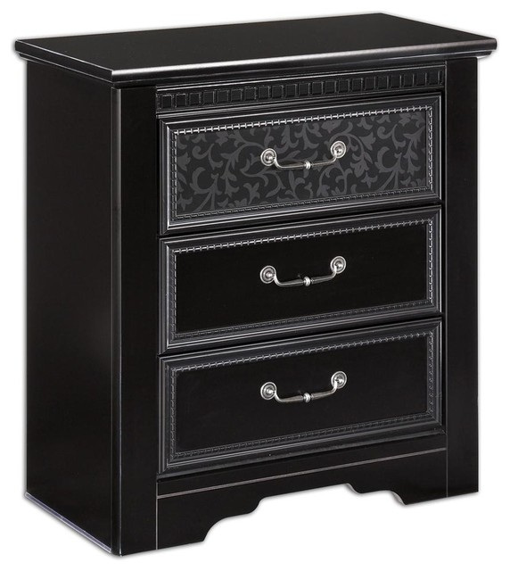 3 drawer nightstand in black contemporary nightstands and bedside tables by ivgstores. Black Bedroom Furniture Sets. Home Design Ideas
