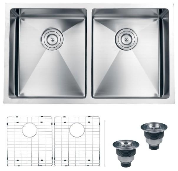 """Ruvati RVH7401 Undermount 16 Gauge 32"""" Kitchen Sink Double Bowl modern ..."""