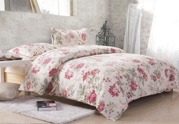 Country Cottage Red Floral Cotton Satin Duvet Cover Set Bedding
