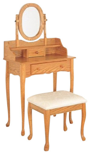 2-Piece Vanity Set (Oak) By Coaster traditional-nightstands-and-bedside-tables