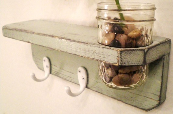 Primitive Wooden Wall Shelf with Mason Jar by Midwestern Treasures contemporary-wall-shelves