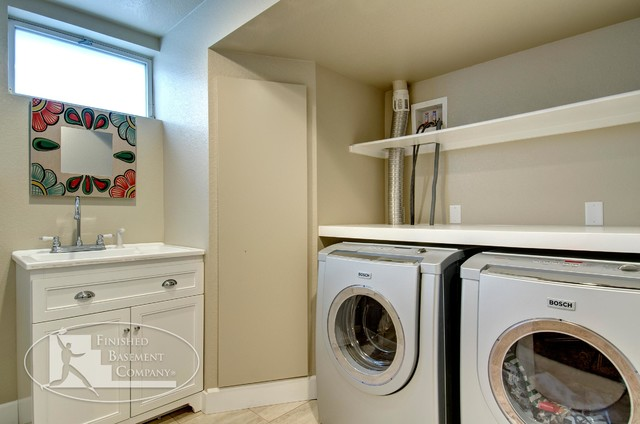 Basement Laundry Room - Traditional - Basement - denver - by Finished Basement Company