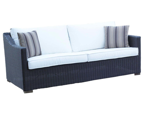 WickerParadise - Patio Wicker Outdoor Sofa Portofino - Black Forest - Kick your feet up and relax as you soak in the rays in the deep seating comfort of this wicker sofa. The modern, sleek lines make it a perfect choice for any outdoor living room.