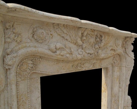 """BLOSS STONEWORKS CO. - Custom French Style Hand Carved Off White Travertine Marble Fireplace Surround in Honed Finish.Custom Carved for you in all dimensions! Please call us with your designing ideas so that we can """" Bring Beauty to Your Fireplace!"""