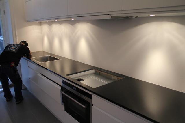 Granite Nero Assoluto countertop installation - 1 traditional-kitchen-countertops