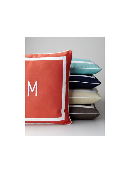 'Sunnyside' Mitered-Border Pillow With Monogram - For the monogram-obsessed, these crisply framed and piped outdoor pillows are so lovely that you will have a hard time not bringing them indoors to enjoy. But on second thought, why not? That's the great thing about outdoor furnishings — they are sometimes even better for adding a colorful kick indoors.