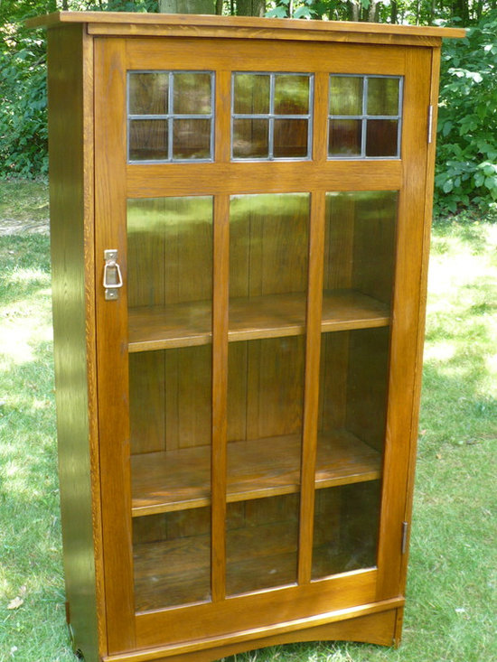 Harvey Ellis Bookcase - White oak Harvey Ellis Bookcase finished in the original style, wavey leaded glass