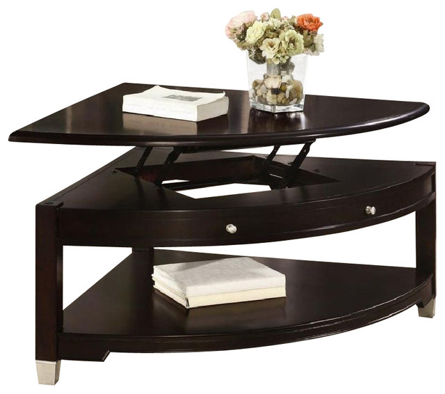 Coaster Liberty Pie Shaped Lift Top Cocktail Table In Dark Walnut Transitional Coffee Tables