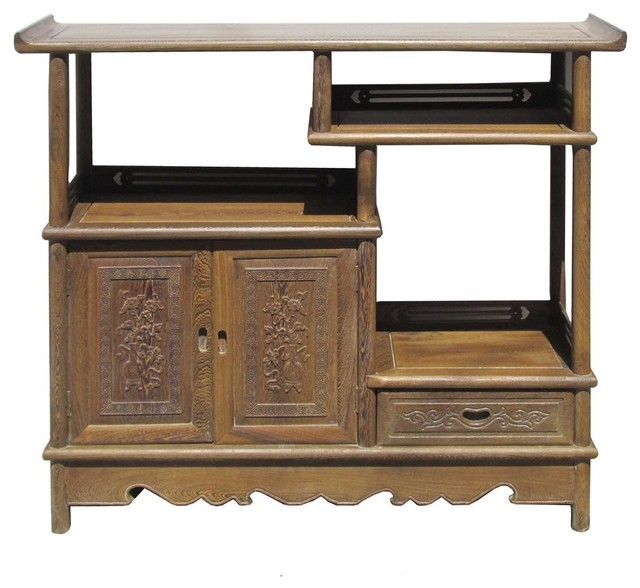 Chinese hand carved chicken feather wood display cabinet for Asian console cabinet