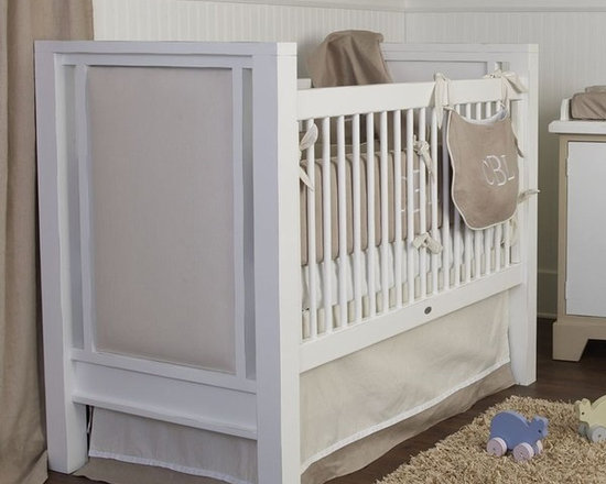 Ricki Crib - This crib by Newport Cottages is simple, yet elegant. The upholstered panel side detail is my favorite feature. It's gender neutral, so would work for baby #2!