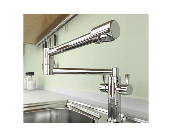 Dual Handle Chrome Kitchen Faucet - Features: