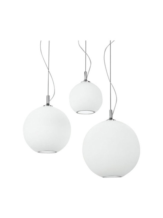 """Artemide - Artemide Sphera pendant light - The Sphera pendant light fromRezek by Artemide has been designed by Peclar Nalbandian and Guy Burr in 2006. This cable mounted luminaire is great for direct and diffused incandescent lighting. The Sphera is composed of chrome plated aluminum with the diffuser in etched white hand blown glass with lower opening trim in chrome plated steel. This cable mounted luminaire is available in four sizes: small, medium, large and extra large. The Sphera pendant light exhibits an elegant and contemporary design, along with quality craftsmanship, that is sure to brilliantly illuminate any modern domain. UL listed.  Product Description  The Sphera pendant light fromRezek by Artemide has been designed by Peclar Nalbandian and Guy Burr in 2006. This cable mounted luminaire is great for direct and diffused incandescent lighting. The Sphera is composed of chrome plated aluminum with the diffuser in etched white hand blown glass with lower opening trim in chrome plated steel. This cable mounted luminaire is available in four sizes: small, medium, large and extra large. The Sphera pendant light exhibits an elegant and contemporary design, along with quality craftsmanship, that is sure to brilliantly illuminate any modern domain. UL listed. Details:                         Manufacturer:             Artemide                            Designer:             Peclar Nalbandian and Guy Burr                            Made in:            Italy                            Dimensions:                         Med: Height: max 84"""" (213cm) X Width: 10"""" (25cm)                          Large: Height: max 88"""" (223cm) X Width: 14"""" (36cm)                          Extra Large: Height: max 91"""" (231cm) X Width: 17"""" (43cm)                                          Light bulb:                         Med: 1 X 100W incandescent                          Large and Extra Large: 1 X 150W incandescent                                         Material             aluminum, c"""