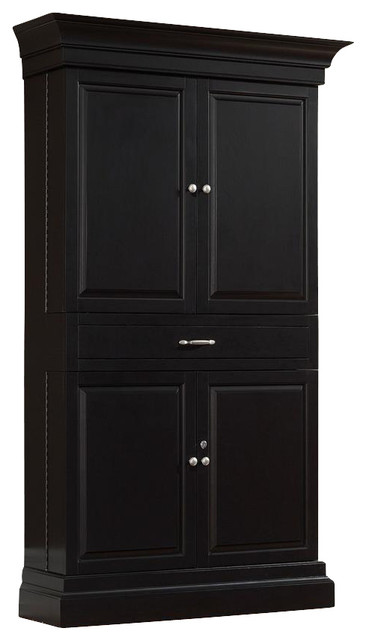 Francesca Bar Corner Unit in Black - Traditional - Wine And Bar Cabinets - by ShopLadder
