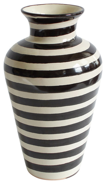 Especial Striped Vase Black And White Transitional