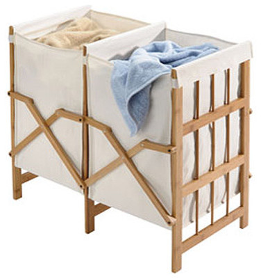 Bamboo and Cotton Folding Laundry Hamper traditional-hampers