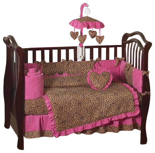 Pink cheetah 9 piece crib bedding set contemporary cribs by tiny totties - Pink cheetah bed set ...