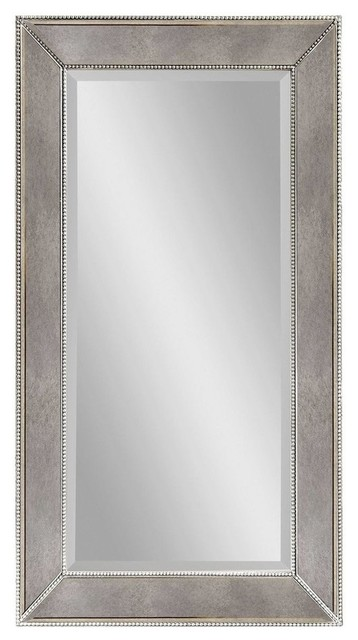 Bassett Mirror Murano Beaded Rectangular Wall Mirror in Silver Leaf contemporary-mirrors