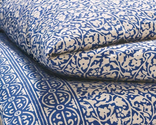 Viva Terra - Indigo Block Print Duvet Set (twin) - Our bedding is hand-printed by artisans