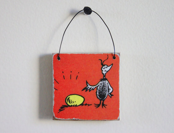 Dr. Seuss Wooden Tile Wall Hanging, Proud Bird With Its Egg by Original Paper contemporary kids decor