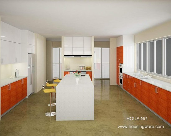 kitchen cabinet 013 - design free, customized, top quality, with bench top and top stainless steel sink