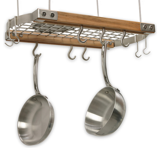 Mini ceiling oval pot rack natural traditional pot for Pot racks for kitchen
