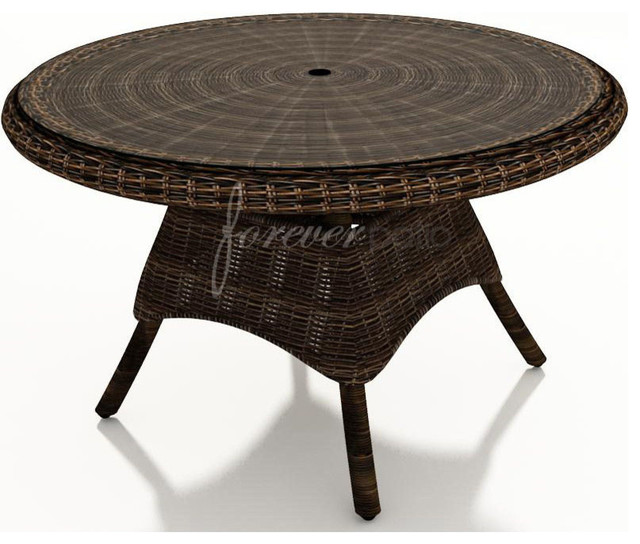 Wicker Forever Patio Leona 48 Round Dining Table With Glass Top Tradi