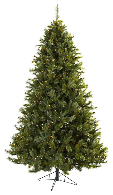 Nearly Natural 7.5' Majestic Multi-Pine Christmas Tree with Clear Lights traditional-christmas-trees