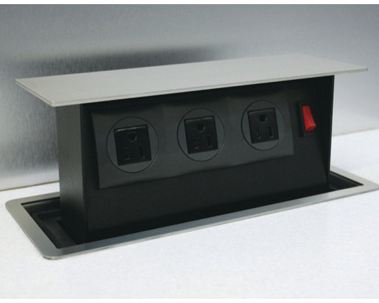S-Box Pop-Up Outlet - SBOX pop-up 3 outlet power station. Ideal for kitchens, office and furniture. Simply cut your top and drop in. Can be recessed as well and use a matching piece of your counter top to conceal the unit. UL approved